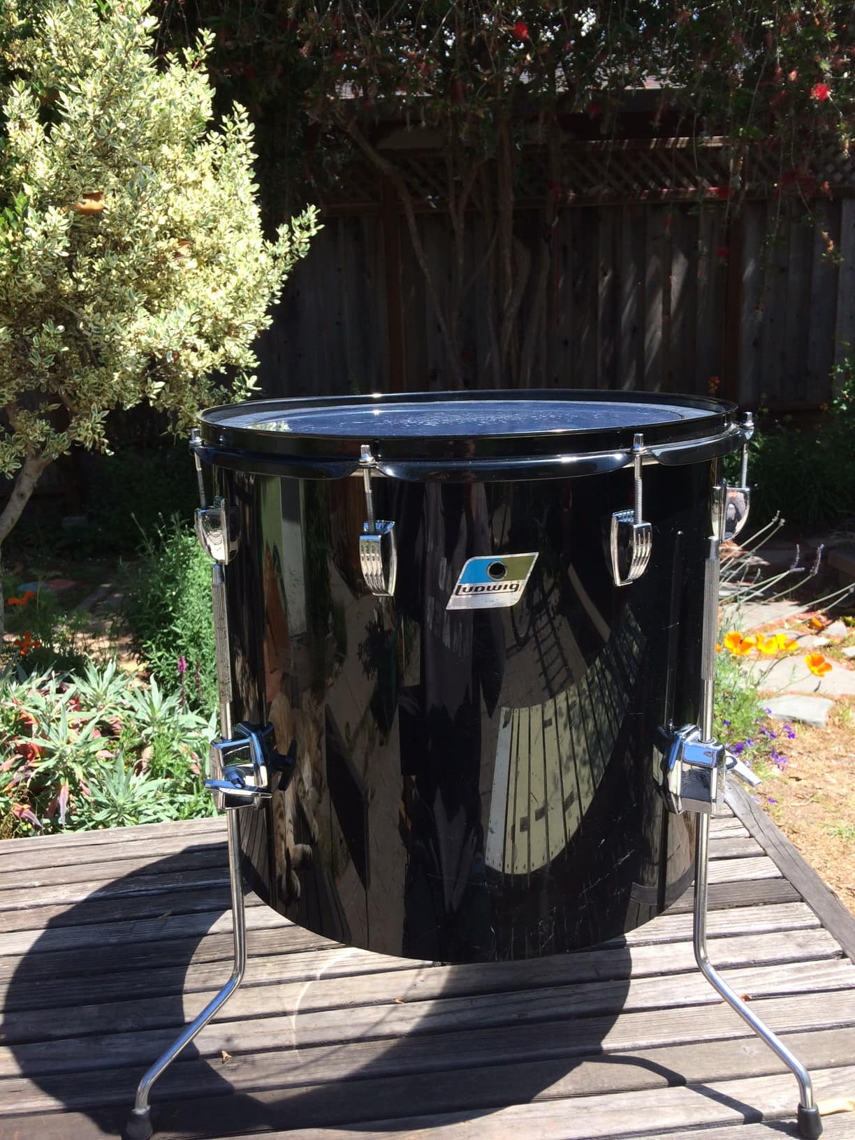 Ludwig 16x14 vistalite concert tom 1976 black reverb for 16x14 floor tom