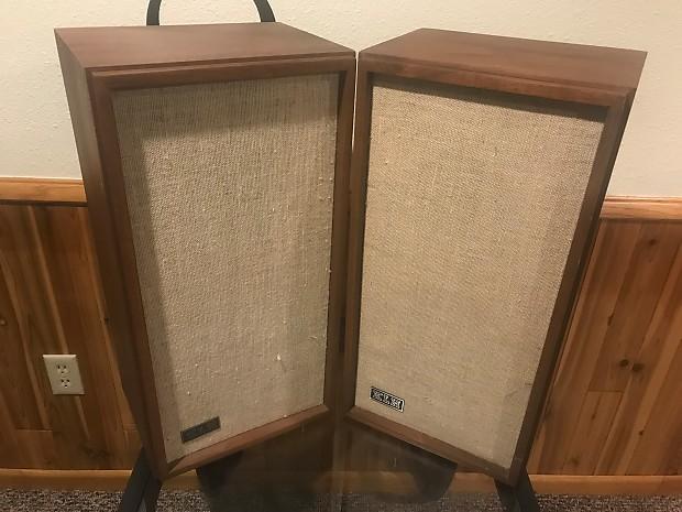 KLH Model Seventeen Walnut Cabinet Vintage Two Way Stereo Speakers