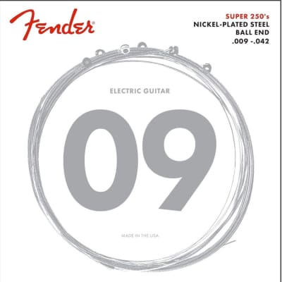 Fender 250L Nickel Plated Steel Ball End 09-42, Electric Guitar Strings Light S-S250L