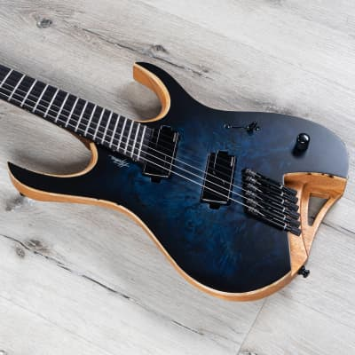 Mayones Hydra Elite 6 VF Multi-Scale Headless Guitar, Dirty Blue Burst Satin