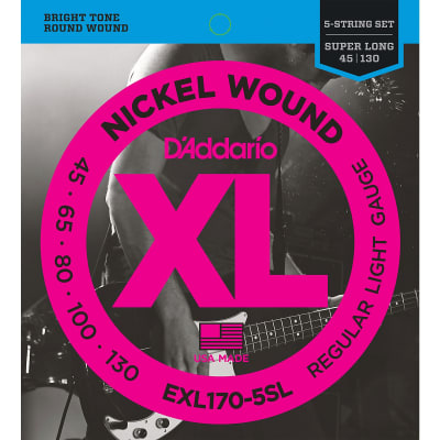 D'Addario EXL170-5 Regular Light Nickel Wound 5-string Super Long Scale Bass Strings - .045-.130