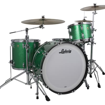 Ludwig Legacy Mahogany Green Sparkle Fab 14x22_9x13_16x16 Special Order Drum Kit | Authorized Dealer