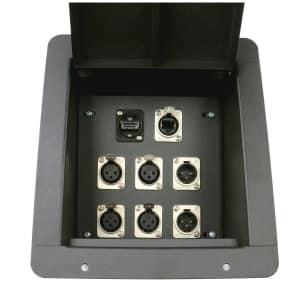 Elite Core Audio FB8-4XF2XM1H1E Recessed Floor Box with 4x XLR Female, 2x XLR Male, 1 HDMI 1 Tactical Ethernet Connectors