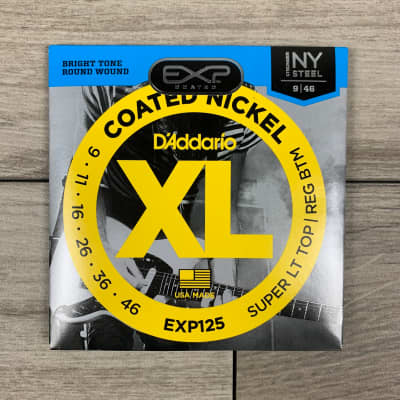 D'Addario EXP125 Coated Nickel Electric Guitar Strings, 09-46, Super Light Top/Regular Bottom