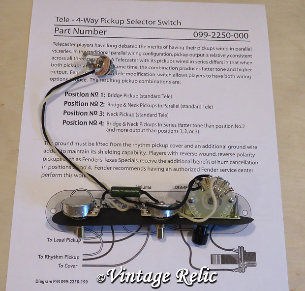 Tele 4 Way Upgrade Wiring Kit Prewired PIO Cap CTS Pots Fits Reverb - Four Way Switch For Telecaster