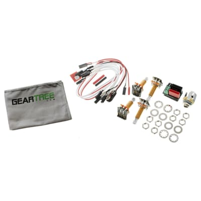 EMG 1 or 2 Pickup Active Solderless Conversion Wiring Kit LS Long Shaft w/ Geartree Cloth