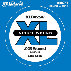D'Addario XLB025W Nickel Wound Bass Guitar Single String Long Scale .025