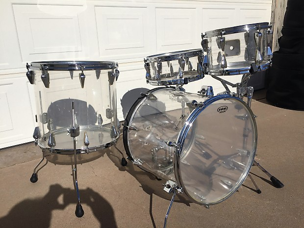 7 piece vintage zickos clear acrylic drum set w matching reverb. Black Bedroom Furniture Sets. Home Design Ideas