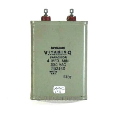 Vintage Sprague Vitamin Q 4 MFD MIN. 330 VAC Paper in Oil Capacitor for sale