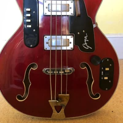 Goya Semi Acoustic Bass 1960's Cherry Red, Very Rare for sale