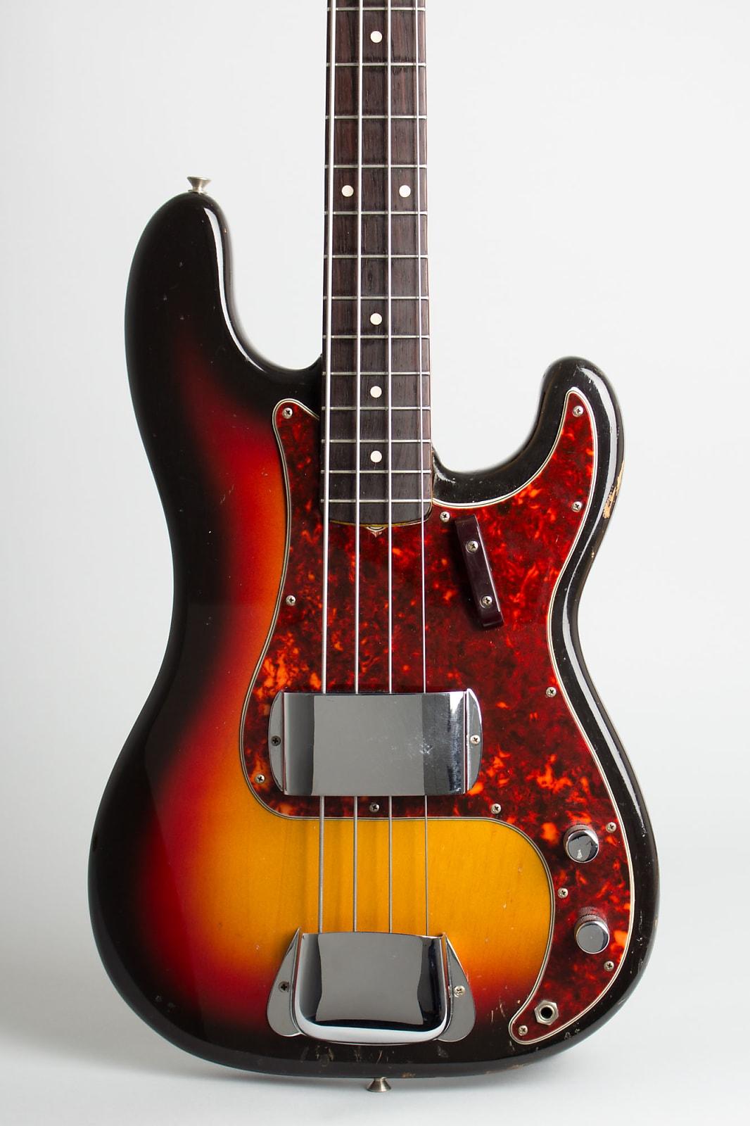 Fender  Precision Bass Solid Body Electric Bass Guitar (1963), ser. #92338, period black tolex hard shell case.
