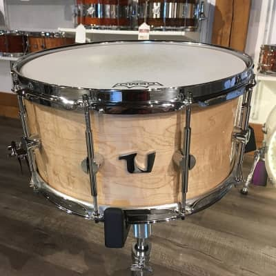 Used Unix Curly Maple Solid Ply Snare Drum 7x14