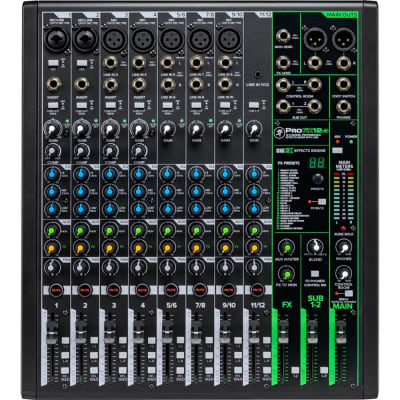 Mackie ProFX12V3 Mixer, 7 Onyx Mic Pres, 4 Compressors, GigFX Effects Engine