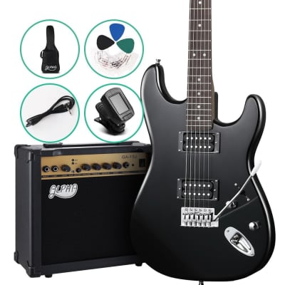 ALPHA Electric Guitar and 20w Amp Pack with Gig Bag Black for sale