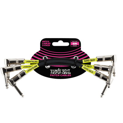 """Ernie Ball P06051 6"""" Angled to Angled Patch Cables (3-Pack)"""