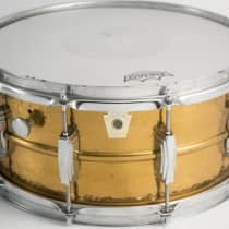 """Ludwig 6.5x14"""" Hammered Bronze Snare Drum 1980s image"""