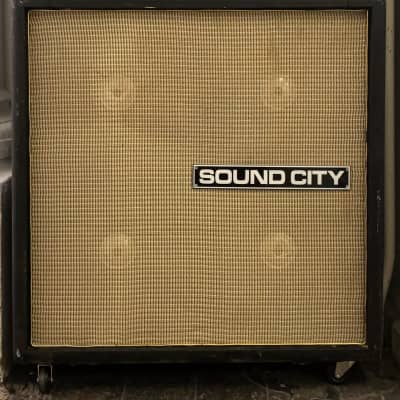 Vintage Sound City Dallas arbiter 4x12 Guitar cab cabinet from 1971 - Pulsonic cone 122190 Fanes for sale