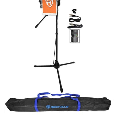 Rockville Tripod Karaoke Microphone Stand+Mic w/iPad/Tablet Clip Mount+Carry Bag