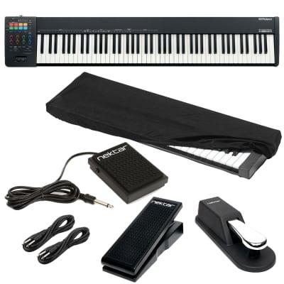 Roland A-88MKII MIDI Keyboard Controller, Dust Cover, Sustain Pedal, Nektar NP-1, Nektar NX-P, (2) 1/4 Cables Bundle