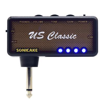SONICAKE Guitar Headphone Amp Plug-In US Classic w/h Chorus & Reverb Effects & Vintage Overdrive Ton
