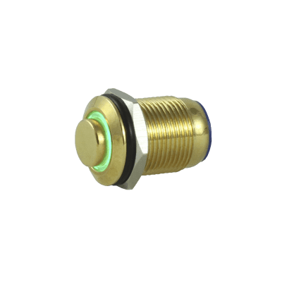 Tesi POCO 12MM LED Momentary Push Button Guitar Kill Switch Gold / Green