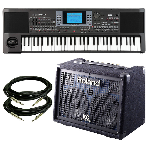 Korg microARRANGER Keyboard With Roland KC-110 Keyboard Amplifier & Cables