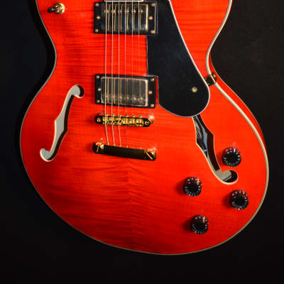 Luna Athena 501 Semi-Hollow  Trans Red Electric Guitar w/ Lite Lear Case- Free Shipping! for sale