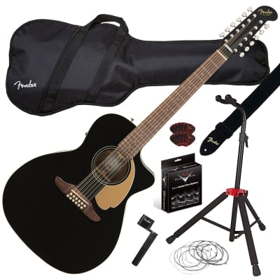 Fender Villager 12-String Ac/El Guitar - Black GUITAR ESSENTIALS BUNDLE
