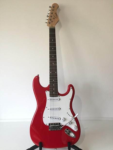 gould strat style 6 string electric guitar red white reverb. Black Bedroom Furniture Sets. Home Design Ideas