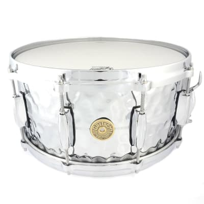 "Gretsch G4164HB USA Hammered Chrome Over Brass 6.5x14"" 10-Lug Snare Drum"