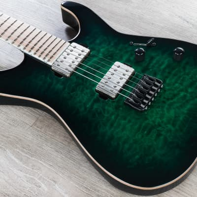 ESP E-II M-II NT Electric Guitar, Maple Fingerboard, Black Turquoise Burst