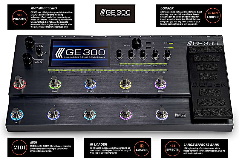 Mooer GE-300 Guitar Multi-Effects Processor with synth engine In Stock  Ready To Ship