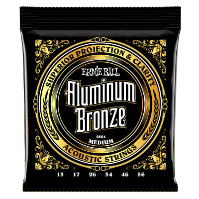 Ernie Ball Medium Aluminum Bronze Acoustic Guitar Strings - 13-56 Gauge