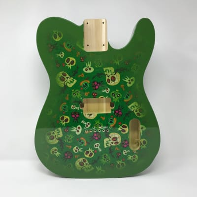 Retro Guitars Green Skull Fabric Body