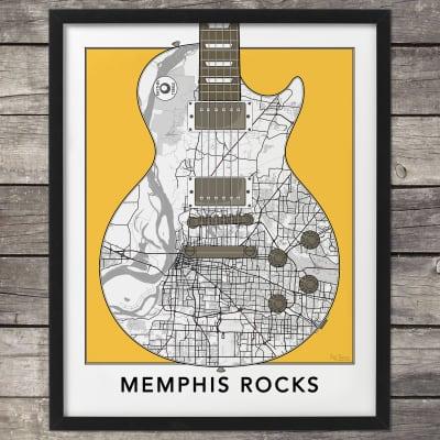 "Memphis Tennessee City Map Print, Gibson Les Paul Guitar Art Print, Guitar Wall Art,Poster, 16x20"""