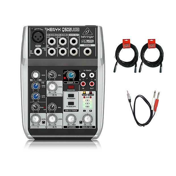 Behringer Xenyx Q502USB 3-band EQ 5-input, 2-Bus Analog USB Mixer with  Bundle