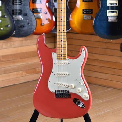 Fender American Deluxe Stratocaster V Neck Maple Fiesta Red for sale