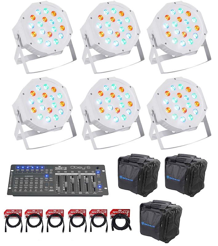 (6) FARENHEIT FHB-118 LED RGB DMX LED PAR Can Wash  Lights+Controller+Cables+Bags