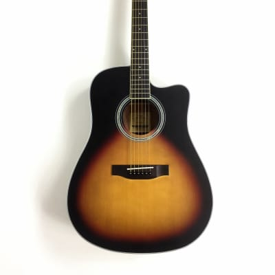 Haze Dreadnought Spruce Solid top Acoustic Guitar Natural CD60MCBS for sale