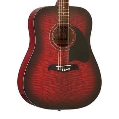 Oscar Schmidt OG2FBC Flame Black Cherry Finish dreadnought Acoustic Guitar for sale