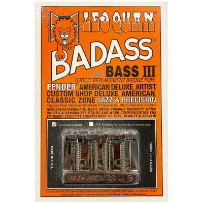 Leo Quan Badass Bass III Bridge 4 String Grooved Saddles Chrome for sale