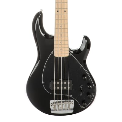 Music Man StingRay 5 Maple Fingerboard 5-String Electric Bass Guitar - Black for sale