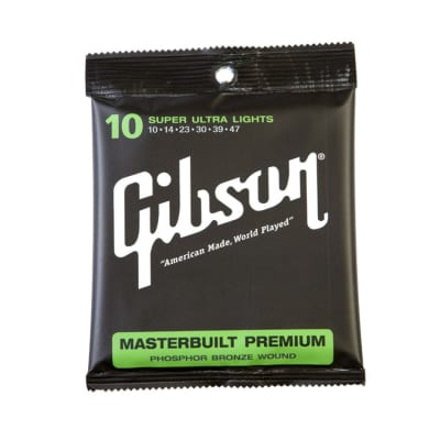 Gibson SAG-MB10 Masterbuilt Premium Phosphor Bronze Super Ultra Lights Acoustic Strings 10-47 for sale