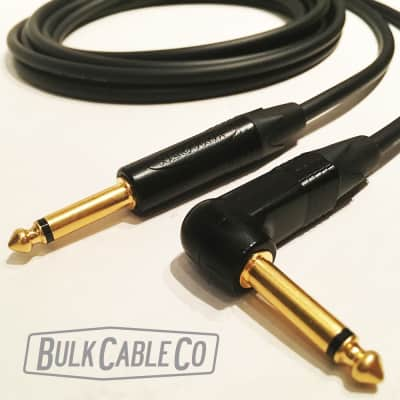 Mogami 2524 - 3 FT Guitar Cable - Neutrik Gold Connectors - Right Angle RA Plug To Straight ST End