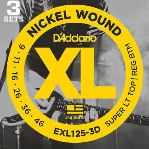 D'Addario EXL125-3D Nickel Wound Electric Guitar Strings Super Light Top / Regular Bottom Gauge 3-Pack