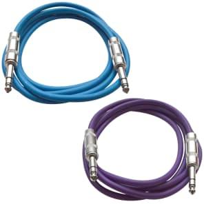 """Seismic Audio SATRX-2-BLUEPURPLE 1/4"""" TRS Patch Cables - 2' (2-Pack)"""