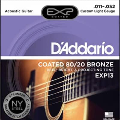 ***D'Addario EXP13 Coated 80/20 Bronze Acoustic Stings - Custom Light Gauge - 11-52