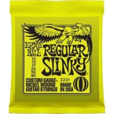 Ernie Ball 2221 Regular Slinky Nickel Wound Electric Guitar Strings; 10-46