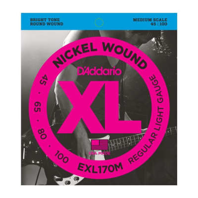 D'Addario EXL170M Nickel Wound Bass Light 45-100, Medium Scale