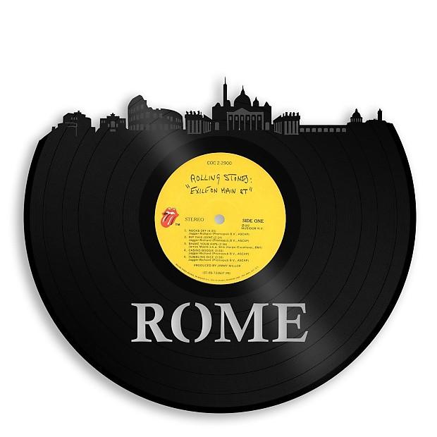 Rome Skyline Vinyl Wall Art - Silver / Framed | VINYLSHOPUS | Reverb